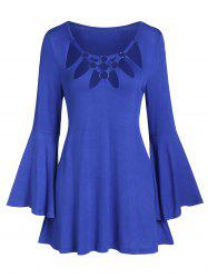 O-ring Hollow Out Bell Sleeve Tunic Tee -