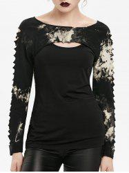 Gothic Tie Dye Cut Out Ripped T-shirt -