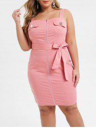 Plus Size Square Neck Zip Up Belted Mini Fitted Dress -