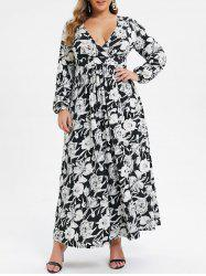 Plus Size Low Cut Floral High Slit Maxi Dress -