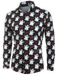 Halloween Ghost Print Button Up Shirt -