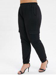 Plus Size Pocket High Waisted Solid Jogger Pants -