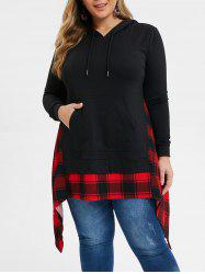 Plus Size Handkerchief Kangaroo Pocket Plaid Hoodie -
