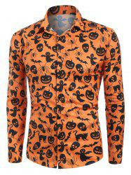 Halloween Print Button Up Casual Shirt -