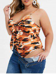Plus Size Knotted Camo Cami  Backless Bodysuit -