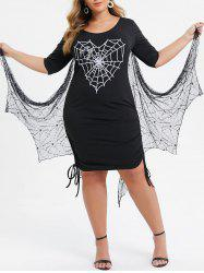 Plus Size Spider Web Cinched Gothic Dress With Bat Wing -