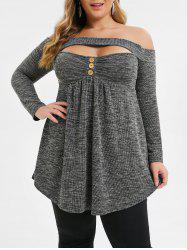 Plus Size Cut Out Marled Off Shoulder T-shirt -