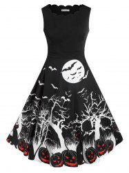 Plus Size Retro Pumpkin Bat Print Halloween Dress -