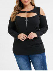 Plus Size Open Shoulder Zipper Buckle Cut Out Tee -