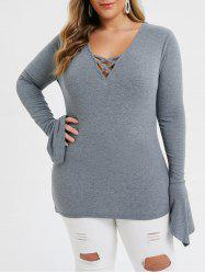 Plus Size Criss Cross Ruffle Cuffs Knitted Tunic Tee -
