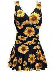 Plus Size Random Sunflower Ruched Skirted One-piece Swimsuit -