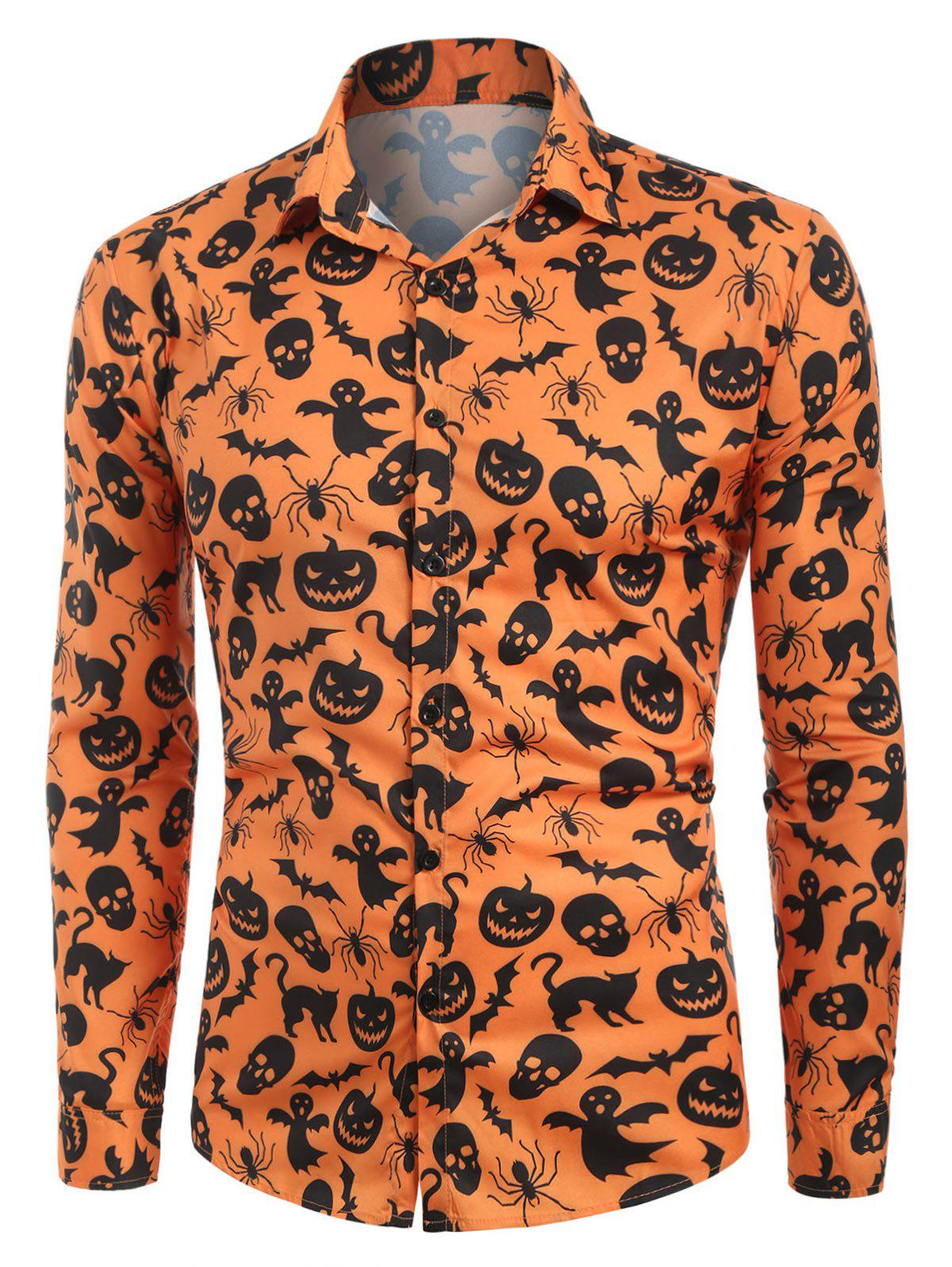 Fancy Halloween Print Button Up Casual Shirt