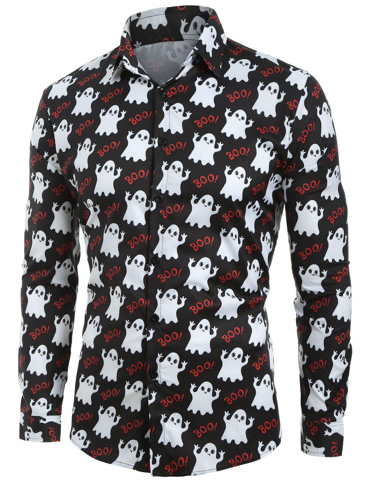 New Halloween Ghost Print Button Up Shirt