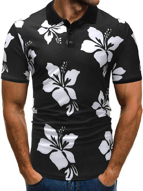 Best Floral Print Shirt Collar Button T Shirt