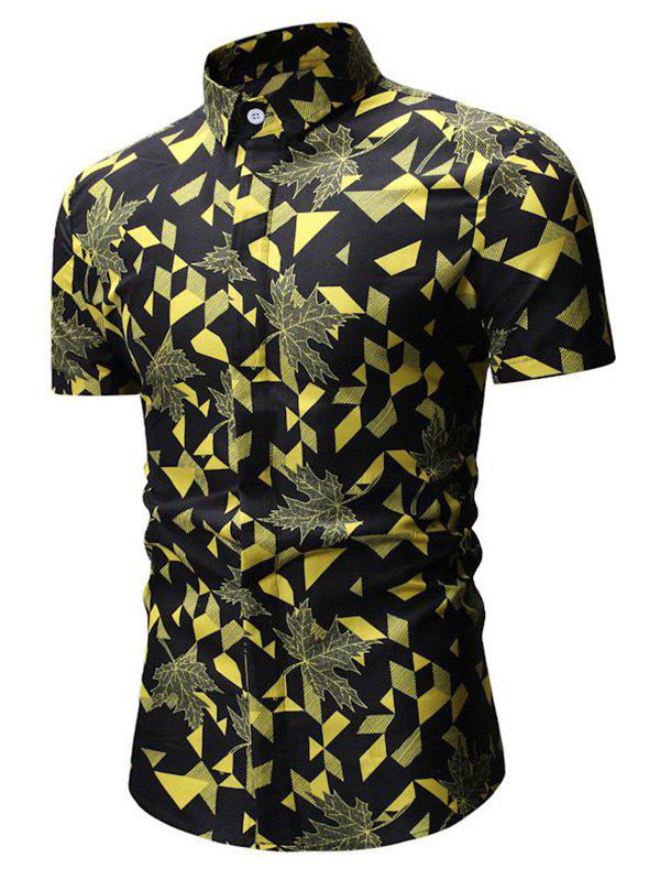Geometric Leaf Print Button Up Casual Shirt, Yellow