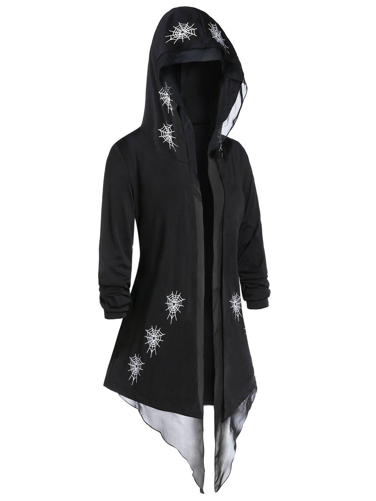 Outfit Plus Size Hooded Spider Web Asymmetrical Tunic Cardigan