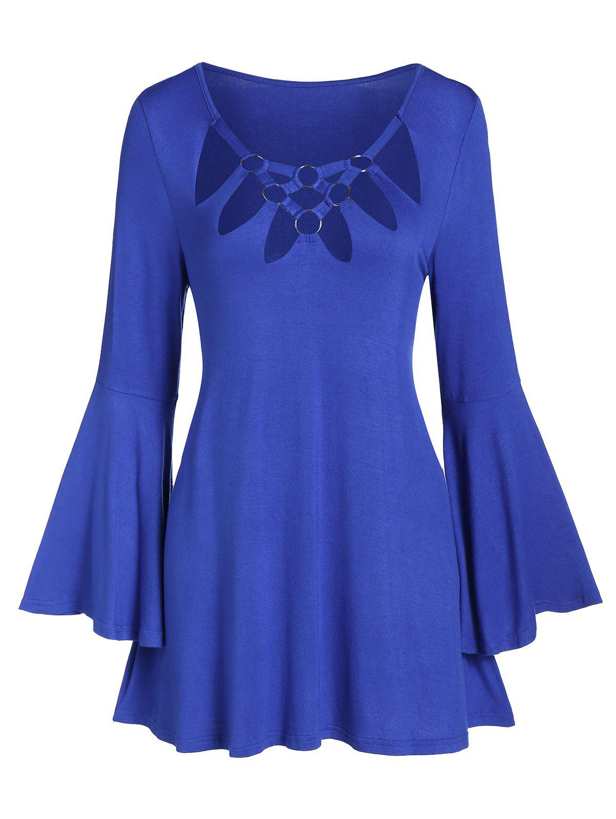 Discount O-ring Hollow Out Bell Sleeve Tunic Tee