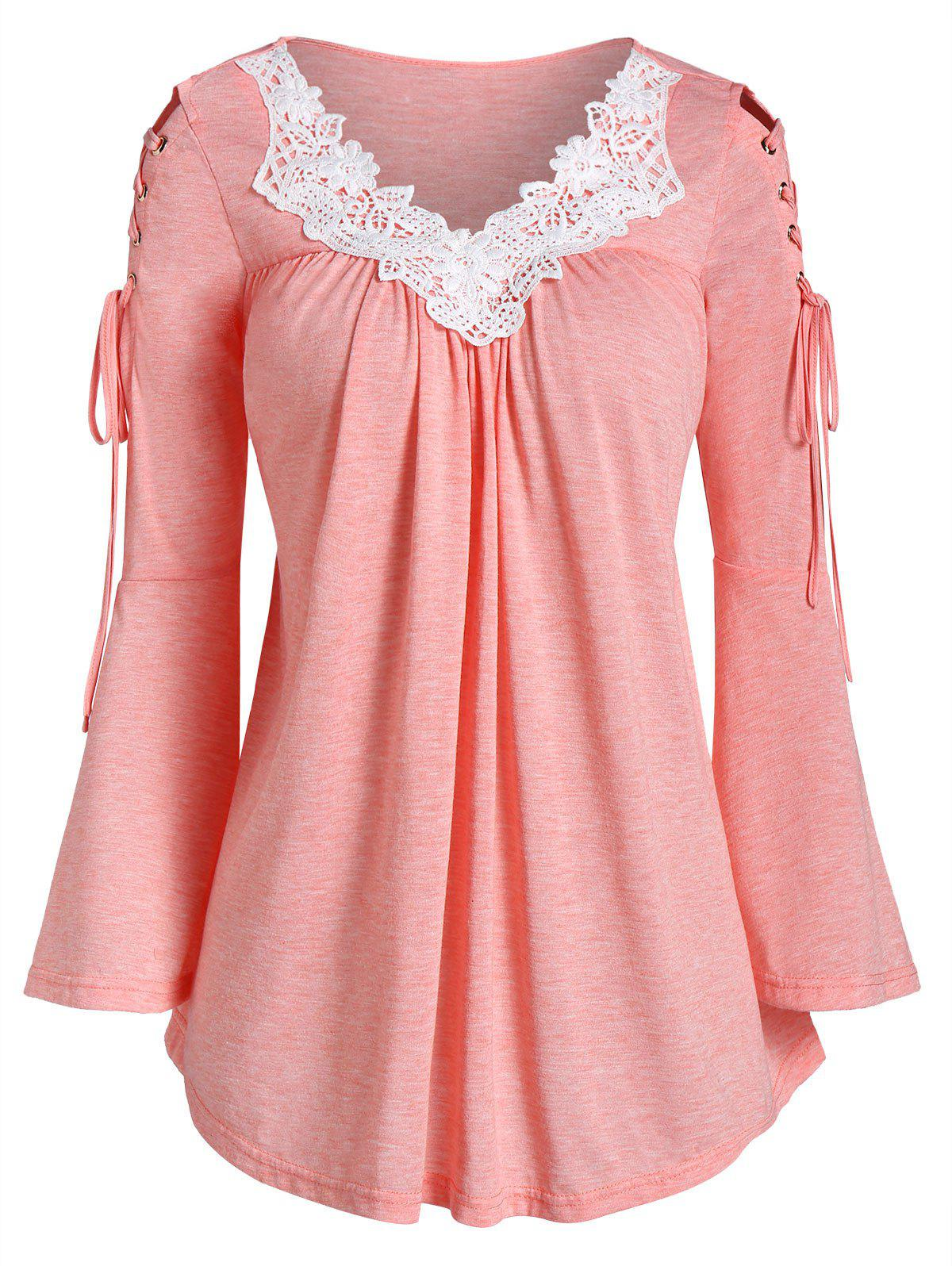 Discount Contrast Lace Lace Up Bell Sleeve T-shirt