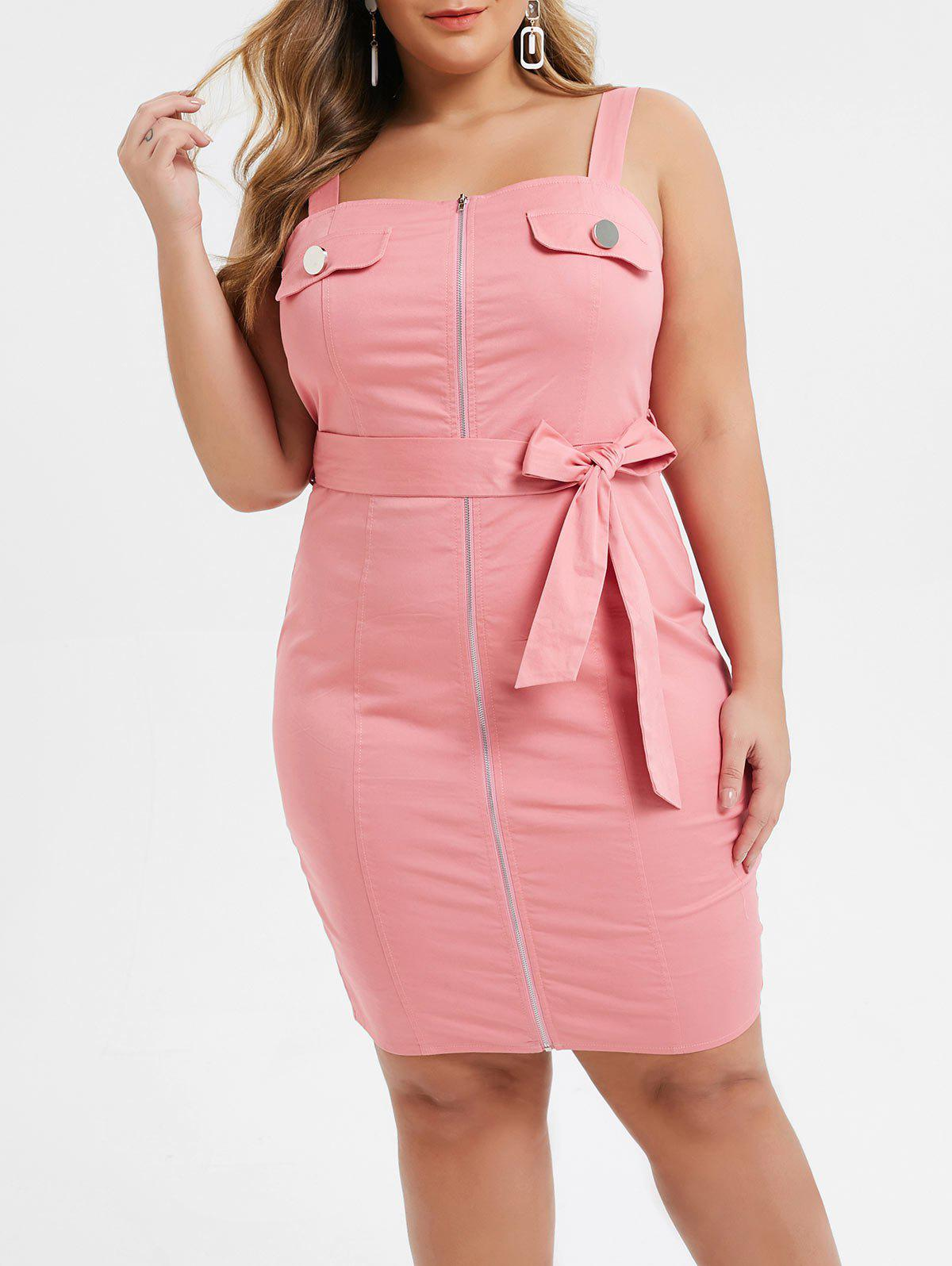 Fancy Plus Size Square Neck Zip Up Belted Mini Fitted Dress