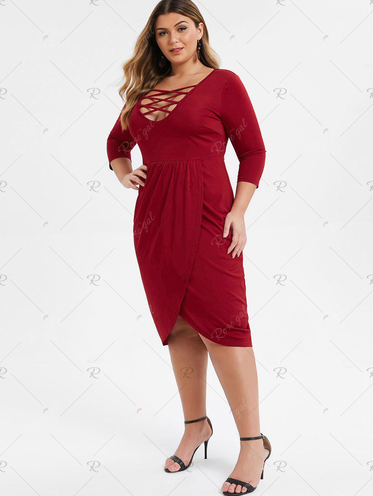 Plus Size Low Cut Criss Cross Midi Tulip Dress - M