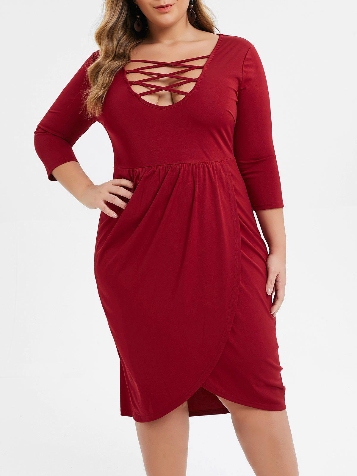Hot Plus Size Low Cut Criss Cross Midi Tulip Dress