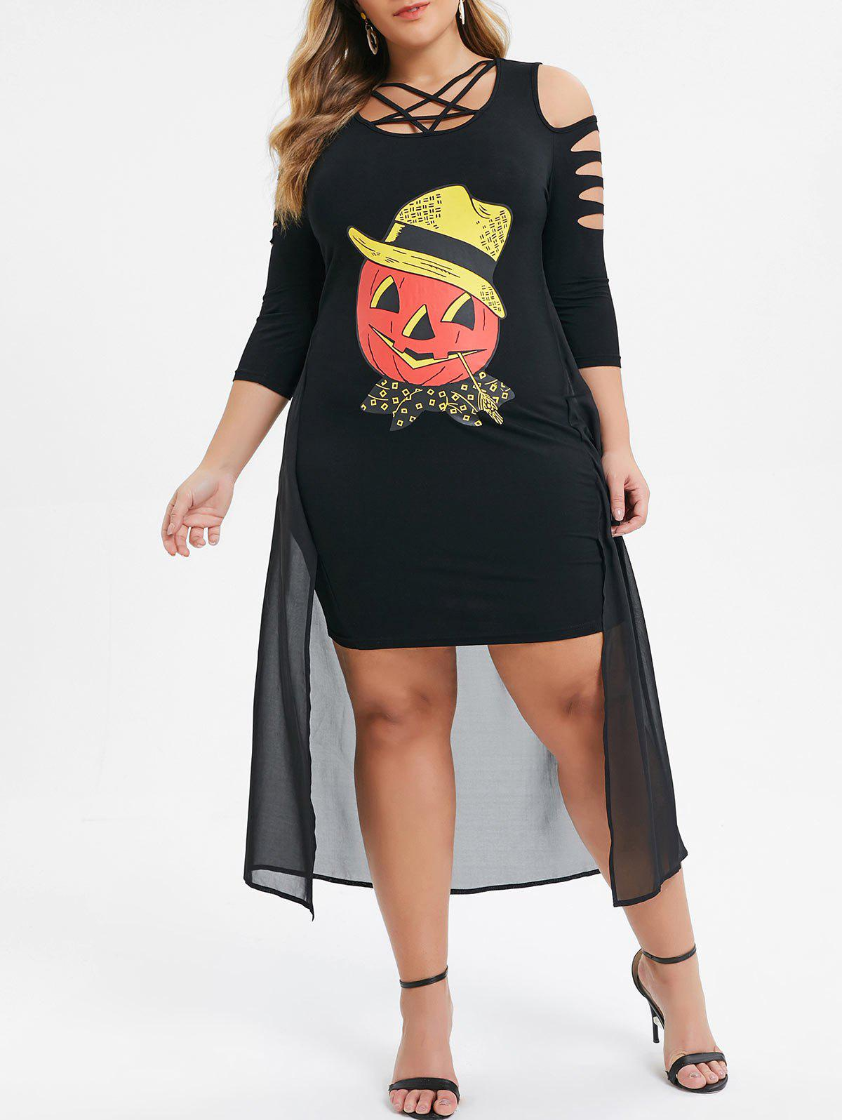 Outfits Plus Size High Low Pumpkin Print Ripped Halloween Dress