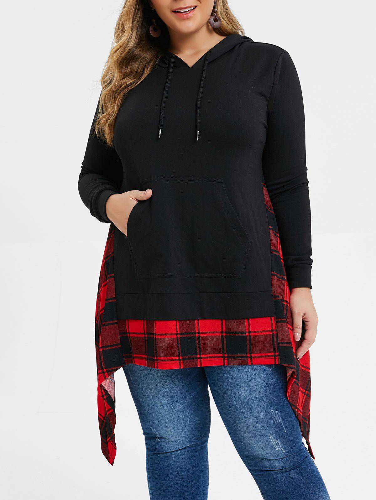 Discount Plus Size Handkerchief Kangaroo Pocket Plaid Hoodie