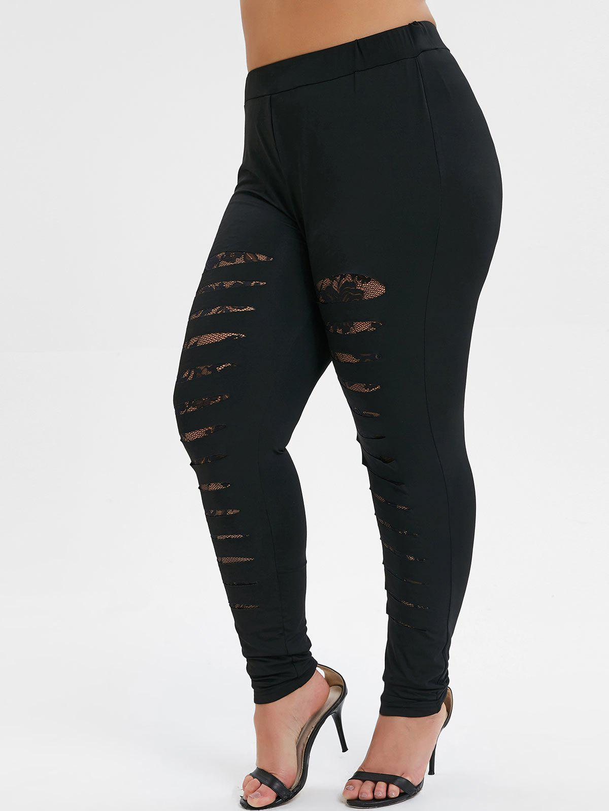 New Plus Size Lace Panel Skinny Ripped Leggings