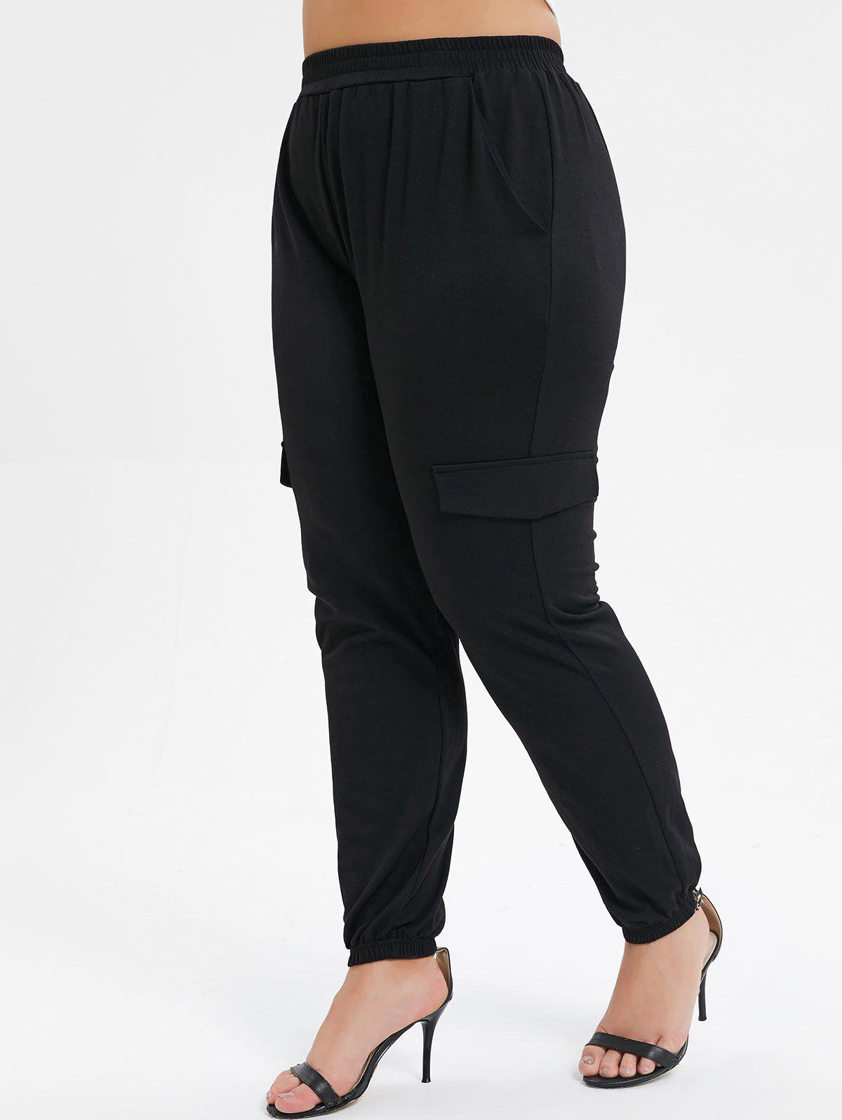 Affordable Plus Size Pocket High Waisted Solid Jogger Pants