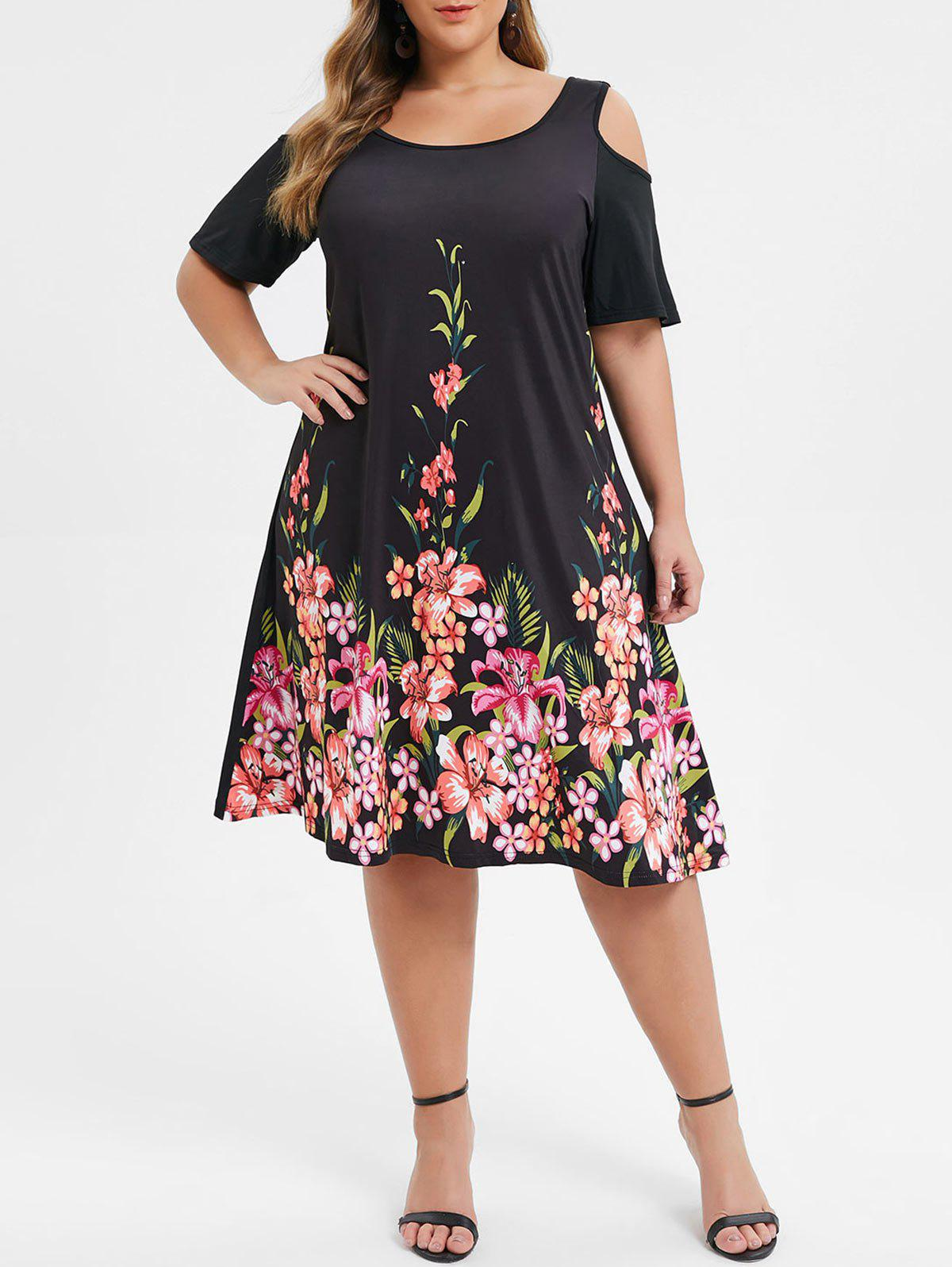 Hot Plus Size Cold Shoulder Floral Print A Line Dress