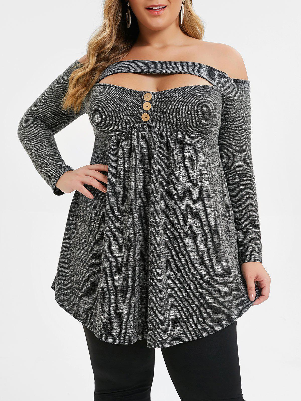 Buy Plus Size Cut Out Marled Off Shoulder T-shirt