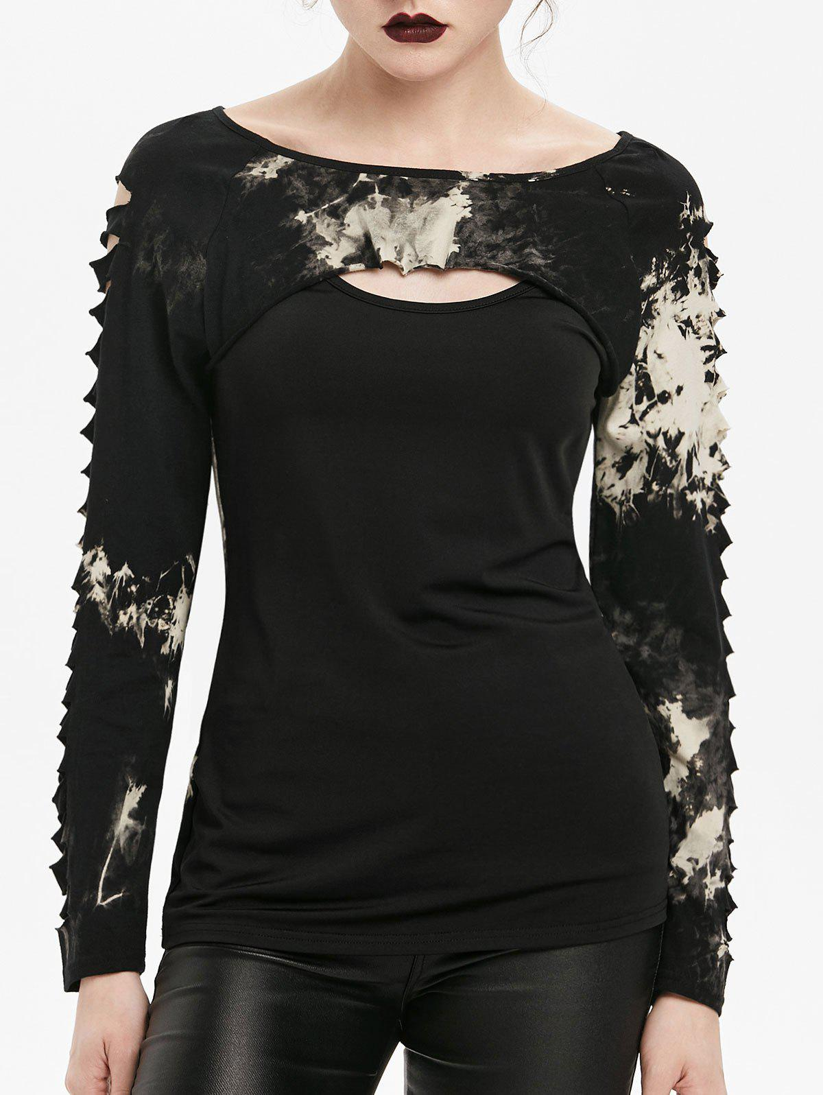 Chic Gothic Tie Dye Cut Out Ripped T-shirt