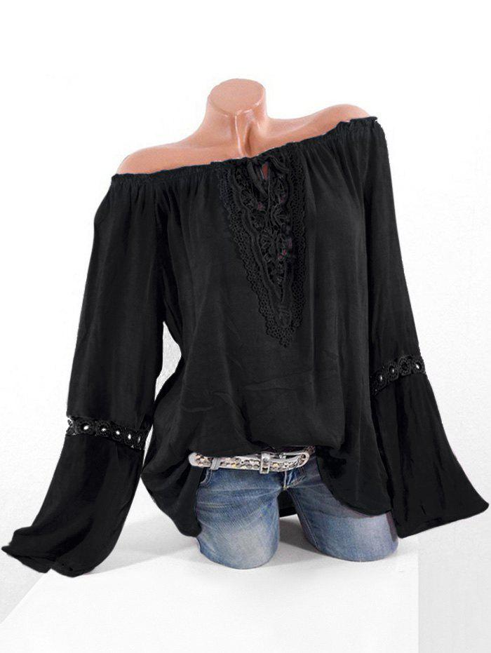 Hot Plus Size Off Shoulder Lace Crochet Blouse