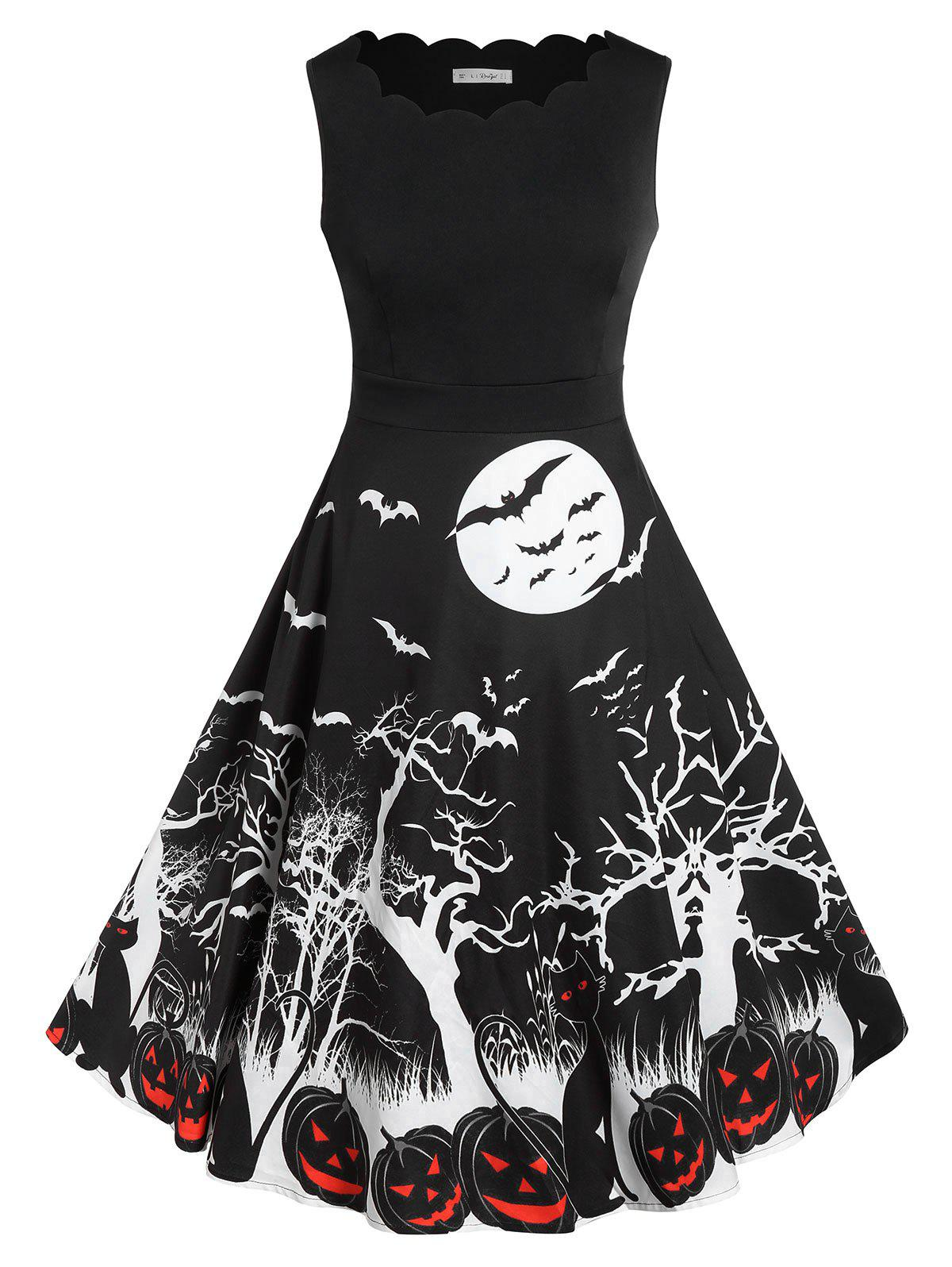 Unique Plus Size Retro Pumpkin Bat Print Halloween Dress