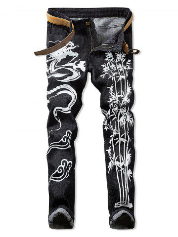 Dragon Print Zipper Fly Casual Jeans