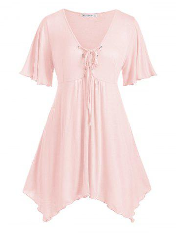 Handkerchief Skirted Lace Up Plus Size Top