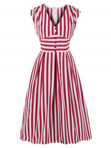 V Neck Striped Buttoned Midi Dress