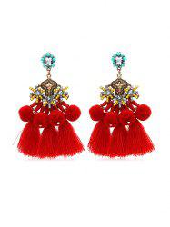 Ethnic Faux Crystal Pompom Tassel Drop Earrings -