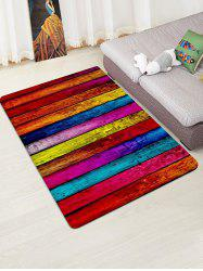 Colorful Plank Pattern Print Flannel Floor Mat -