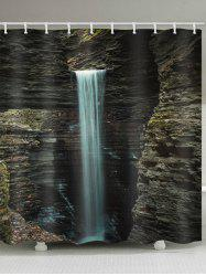 Stone Mountain Waterfall Print Waterproof Bathroom Shower Curtain -