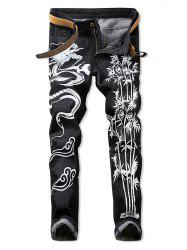 Dragon Print Zipper Fly Casual Jeans -