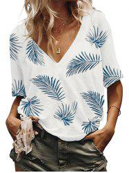 Leaves Print V Neck Casual Tee -