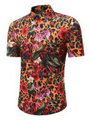 Leopard Floral Print Button Up Hawaii Shirt -