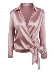 Knotted Surplice Satin Long Sleeves Blouse -