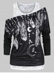 Feather Print Ruched T Shirt with Solid Tank Top -