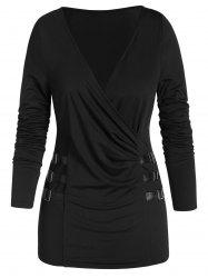 Faux Leather Strap Plunge Neck Ruched T-shirt -