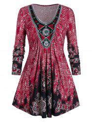 Plus Size Ethnic Print Embroidered Tee -