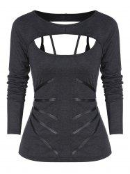 Cut Out Faux Leather Panel Lace-up Gothic T-shirt -