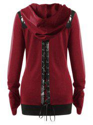 Plus Size Lace Up Gothic Zip Up Hoodie -