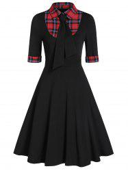 Plaid Panel High Waist Fit And Flare Dress -